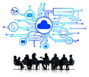 Business People Discussing Cloud Computing Concepts Stock Image