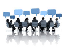 Business People Discussing In Conference. Business People Discussing Around The Conference Table And Speech Bubbles Above Them vector illustration