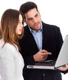 Business people discussing with laptop Stock Photos