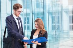 Business people discussing new project, mba students royalty free stock image