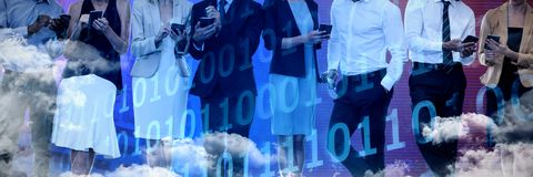 Composite image of business people discussing over wireless technology royalty free stock photography