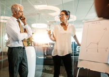 Business people discussing plans to achieve the targets. Businesswoman explaining the new business plan to achieve the targets to colleagues. Business people Royalty Free Stock Photography