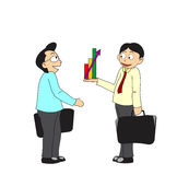 Business people discussing profit. Two businessmen discussing about increasing profit vector illustration