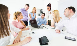 Business people discussing project stock images