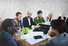 Business People Discussing Solar Power Environment Concept.  stock images