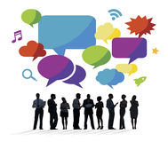 Business People Discussing with Speech Bubbles Royalty Free Stock Photography