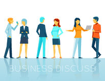 Business people discussing. Teamwork and person, conversation and talk, vector illustration stock illustration