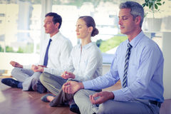 Business people doing yoga on floor Royalty Free Stock Images