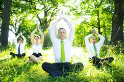 Business People Doing Yoga Outdoors Stock Photography