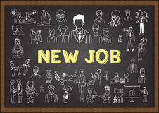 Business people doodle about NEW JOB on chalkboard Stock Photography