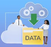 Business people downloading data from a cloud icon royalty free stock photography
