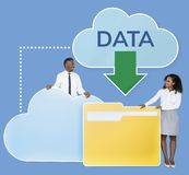 Business people downloading data from a cloud icon royalty free stock photo