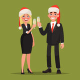 Business people dressed in Christmas hats  congratulate on the h Royalty Free Stock Images