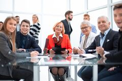 Free Business People During A Meeting Sitting Around A Glass Table Stock Photo - 184867870