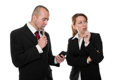 Business people with e-cigarette and iphone Stock Photography