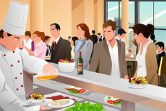 Business People Eating in a Cafeteria Stock Images