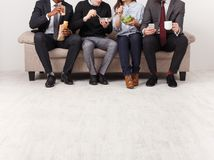 Business people having lunch in office royalty free stock photos