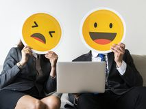 Business people with emoji icons Royalty Free Stock Photo