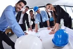 Business people and engineers on meeting Royalty Free Stock Images