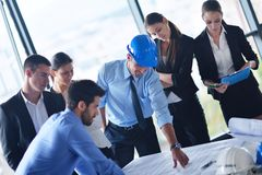Business people and engineers on meeting Stock Images