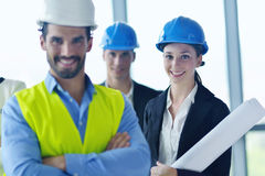 Business people and engineers on meeting Stock Photography
