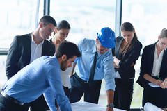 Business people and engineers on meeting Royalty Free Stock Photo