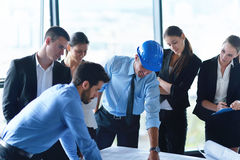 Business people and engineers on meeting Royalty Free Stock Image