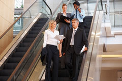 Business people on escalator, discussing business Royalty Free Stock Photos