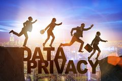 The business people escaping responsibility for data privacy. Business people escaping responsibility for data privacy stock photo