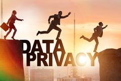 The business people escaping responsibility for data privacy. Business people escaping responsibility for data privacy stock photography