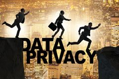 The business people escaping responsibility for data privacy. Business people escaping responsibility for data privacy royalty free stock image