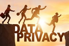 The business people escaping responsibility for data privacy. Business people escaping responsibility for data privacy vector illustration