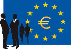 Business people and EU flag Stock Photography