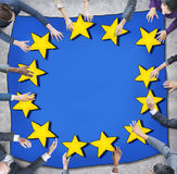 Business People and European Union Flag Royalty Free Stock Image
