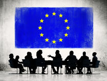 Business People with European Union Flag Stock Images