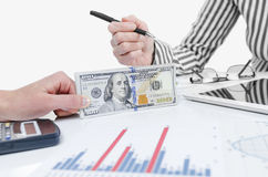 Business people exchanging dollar banknotes Royalty Free Stock Image