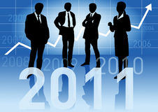 Business people expect a prosperous 2011. Business people in different situations with a big 2011 sign in front and with a business graph arrow going up and Stock Illustration