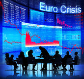 Business People Facing Euro Crisis Stock Photography
