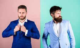 Business people fashion and formal style. Business partners with bearded faces. Business fashion luxury menswear. Formal. Outfit for manager. Businessman stock photo