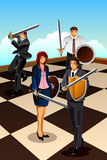 Business People Fighting as Knight. A vector illustration of business people fighting as  knight for strategy concept Royalty Free Stock Image