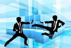Business People Fighting Competition Concept. Business people fighting in martial arts or karate style with an abstract blue background. Competition concept Stock Photography