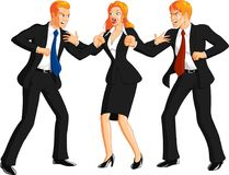 Business People Fighting. Illustration of smartly dressed businesswoman separating two businessmen wearing dark suits angry and fighting each other, white Stock Photography