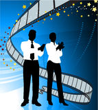 Business people on film premier background. Original Vector Illustration: Business people on film premier background Stock Image