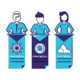 Business people with financial technology icons. Vector illustration design Stock Images