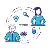 Business people with financial technology icons. Vector illustration design Royalty Free Stock Image