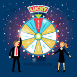 Business people with financial wheel of fortune. Gambling concept. Chance and risk, success and win, game and money. Vector illustration Royalty Free Stock Images