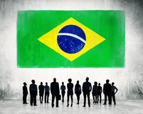 Business People with the Flag of Brazil Royalty Free Stock Photo