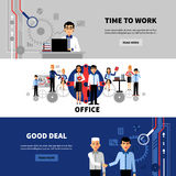 Business People 3 Flat Banners Set Royalty Free Stock Image