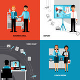 Business People 4 Flat Icons Composition. Business office concept 4 flat icons square composition banner with  videoconference and lunch break abstract isolated Royalty Free Stock Images