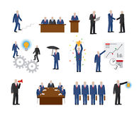 Business people in flat style. Business people in different poses in flat style Royalty Free Stock Images